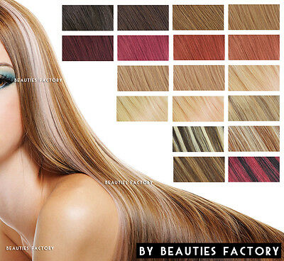 "Beauties Factory Clip in Remy Human Hair Extensions Blonde Burgundy Brown 18""20"""