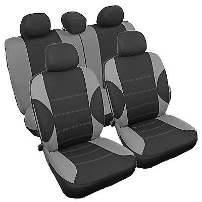 Protective Car Seat Covers Protectors Universal Fit Grey Black Full Set New