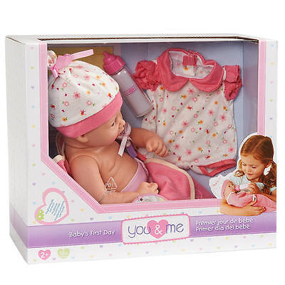 You & Me Baby's First Day 12 inch Doll - Caucasian - Pink Outfit