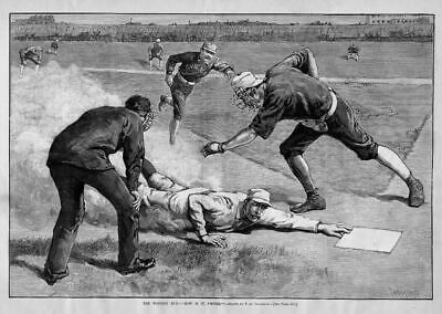 Baseball William Ewing New York Chicago Baseball Umpire Catcher Play At Plate
