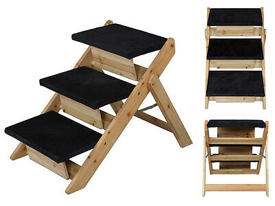 Pet Stairs & Ramp Folding 2-in-1 Carpeted Solid Wooden Step Dog Cat Puppy Kitten
