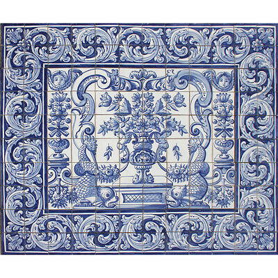 Portuguese Azulejos Tiles Mural Panel BLUE FLOWERS BIRDS DOLPHINS ALBARRADA
