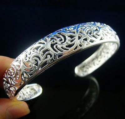 New!! 925 Sterling silver hollowing tracery Cuff Bracelet bangle