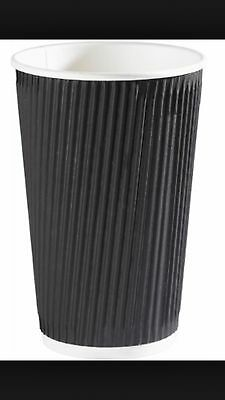 500 Ripple Triple wall paper coffee cups , disposable coffee cups  12OZ Black