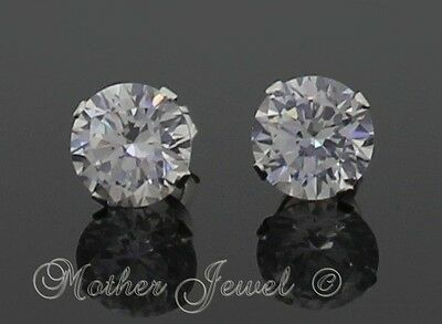 8mm REAL SOLID 925 STERLING SILVER Simulated Diamond Earrings Mens Womens Studs