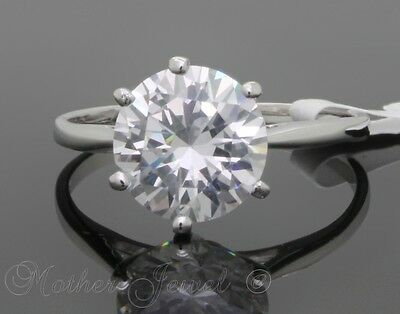 Real Solid 925 Sterling Silver 9Mm Simulated Diamond Solitaire Engagement Ring