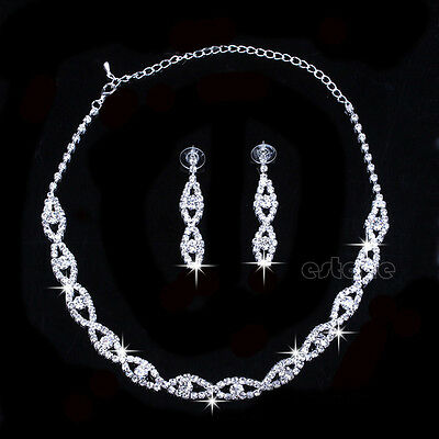 Bridal Wedding Party Jewelry Crystal Diamante Twisted Necklace Drop Earrings Set