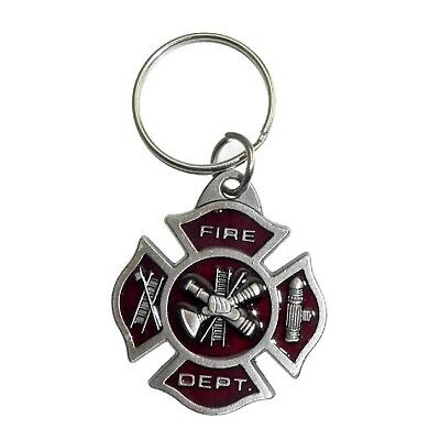 Firefighter Fireman Maltese Cross Emergency Rescue Pewter Key Holder Tag Ring