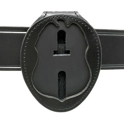 DHS TSA Homeland Security Police Clip On Belt Around Neck Leather Badge Holder