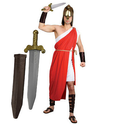 Spartan Warrior Gladiator Greek Roman Fancy Dress Costume Mens Medium Large Xl