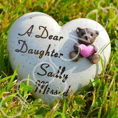 Dear Daughter Sadly Missed Memorial Memento Ornament Graveside Teddy Child Heart