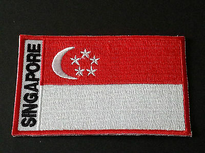 National World Country Embroidered Flag Sew/iron On Patch:- Singapore