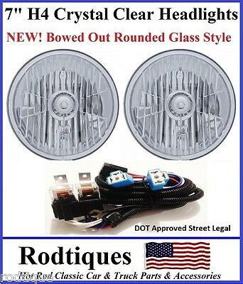 """7"""" Round H4 Headlights Crystal Clear DOT SAE ECE Bowed Glass Head Lamps - 2"""