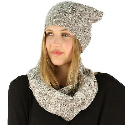 Ladies 2pc Winter Marled Cable Knit Beanie Hat Cowl Infinity Scarf Ski Set Gray