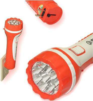 """Rechargeable Flashlight 9 LED LARGE Torch Ultra Bright Plug In wall Charge 9"""""""