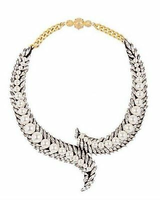 New Gorgeous fashion multi pearl crystal charm lady statement bib necklace gift