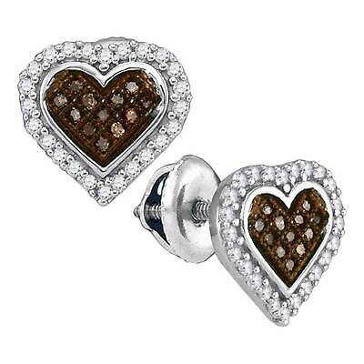 58a5da1a1 10k White Gold Micro Pave Brown Diamond Stud Post Heart Earrings 0.25CT