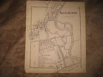 Antique 1873 Newberry Williamsport Lycoming County Pennsylvania Handcolored Map