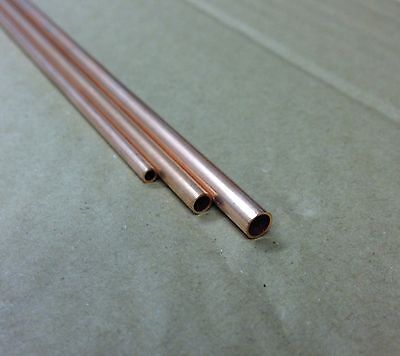 Copper Tube 2mm, 3mm, 4mm, 5mm,6mm, 300mm long 0.45mm wall. Model making