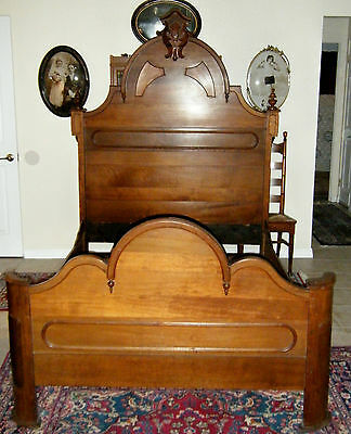 Beautiful Antique Carved Victorian Solid Light Walnut High Back Full Size Bed