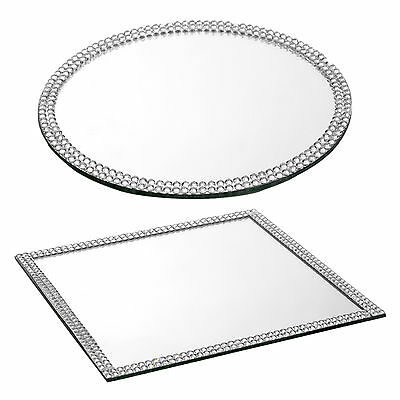 Glass Mirror Plates Table Decoration Centrepiece Base Sparkle Bead Edged Wedding