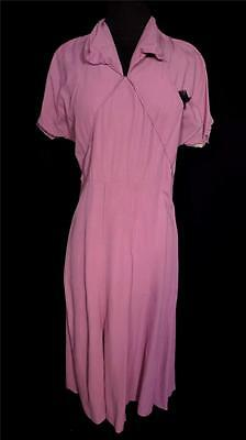 Rare Vintage 1940'S French Wwii Era Pink Rayon Dress