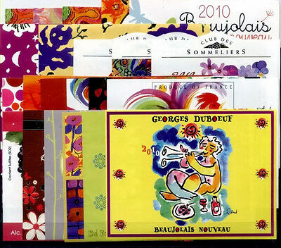 Beautiful Lot Of 22 French Wine Labels - Beaujolais Nouveau 2010 - Free Shipping