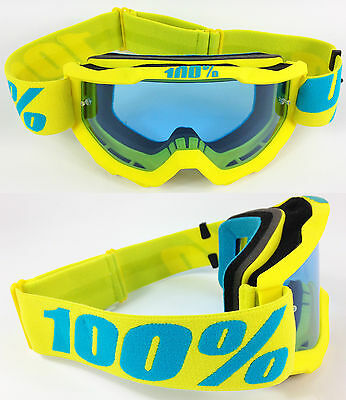 100% PERCENT ACCURI MX MOTOCROSS GOGGLES FIJI with BLUE TINTED GS LENS NEW mtb