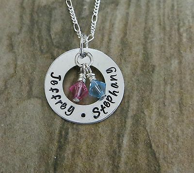 Hand Stamped Jewelry Personalized Birthstone Mothers Necklace, Kids, Grandkids