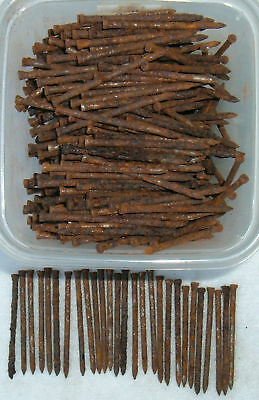 """100  VINTAGE  RUSTY  2 """"  FINISH  NAILS FOUND IN OLD VT. BARN - FREE SHIPPING"""