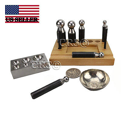 Doming Dapping Block Punch Set Jewelry Making Kit Tools Repousse Silversmith New