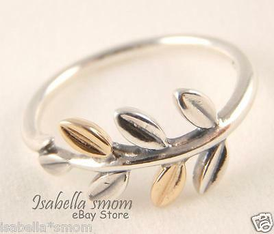 897c582ee LAUREL LEAVES Authentic PANDORA Sterling Silver/14K GOLD RING 7.5/56 NEW  190920