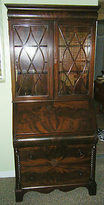 Antique Flame Mahogany Drop Front Secretary Desk With Bookcase Top