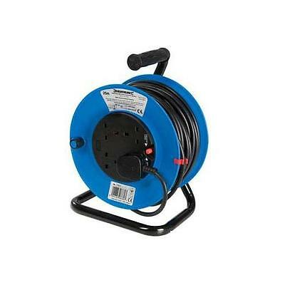 Silverline Cable Reel 240V Freestanding 13A 25m 4 Socket DIY Power Tools