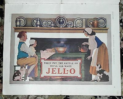 1924 Maxfield Parrish 'Polly Put the Kettle On' Jello Ad in Youths Companion mag
