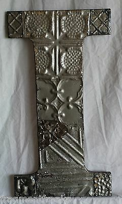 """Large Antique Tin Ceiling Wrapped 16"""" Letter 'I' Patchwork Metal Mosaic Silver"""