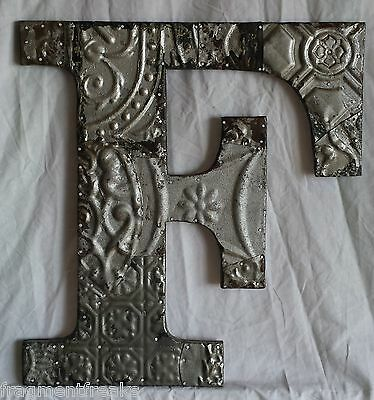 "Large Antique Tin Ceiling Wrapped 16"" Letter 'F' Patchwork Metal Mosaic Silver"