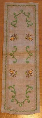 Swedish hand-cross-stitched runner on light gray, small flowers and green swirls