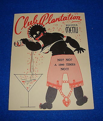 Vintage Black Americana Club Plantation Souvenir Menu