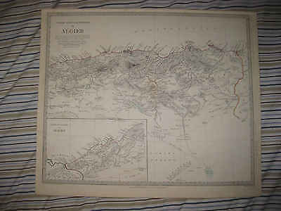 Large Antique 1834 Algiers North Africa Barbary Coast Sduk Handcolored Map Nr