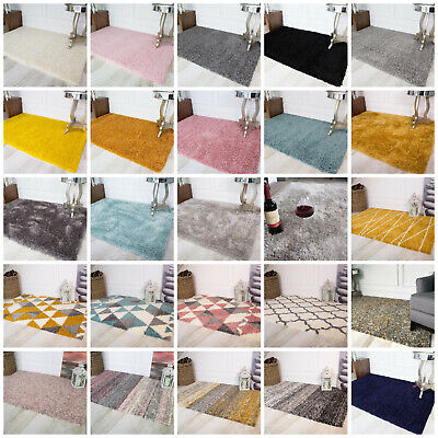 MODERN SHAGGY RUGS Plain Striped Small Large Rug Soft Thick Lounge & Bedroom Rug