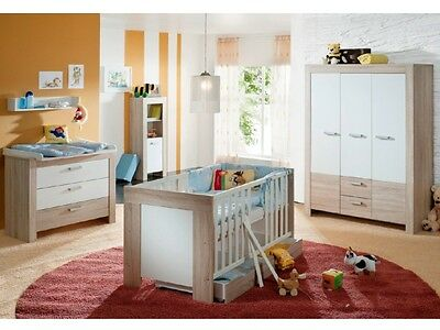 babyzimmer indira bett kleiderschrank wickelkommode eiche sonoma wei eur 669 95 picclick de. Black Bedroom Furniture Sets. Home Design Ideas
