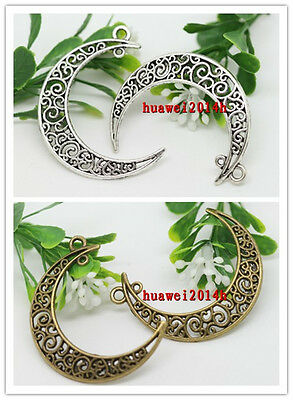Wholesale lot 15/30pcs Retro Style Zinc alloy moon Charm pendant 41x30mm 2-color