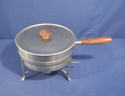 Vtg Stainless Steel Teakwood Handle Chafing Dish Fondue Made in Italy ca. 1960's