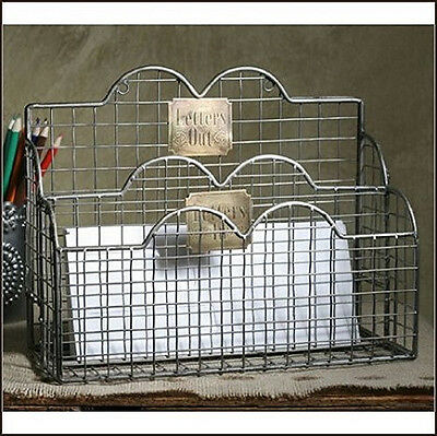 New Primitive Country Vintage LETTERS IN LETTERS OUT Mail Basket Wire Holder