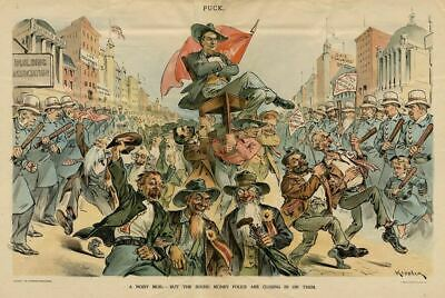 William Jennings Bryan Carried In Parade Police Billy Clubs Savings Bank Money