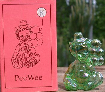 Mosser Glass Old PeeWee Clown GREEN CARNIVAL IRIDIZED Made in Ohio Letter K NIB