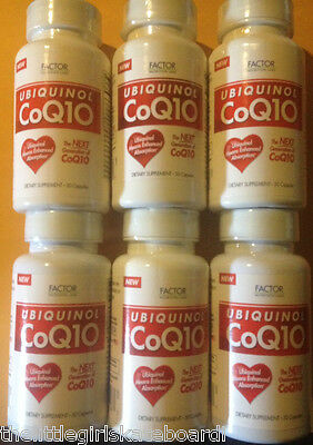 6 UBIQUINOL CoQ10 by FACTOR NUTRITION LABS. 100 mg. 6X30=180 CAPS. EXP. 11/2015