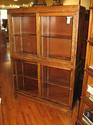 Antique Maple Mission Danner-Style Sliding Door Bookcase Stack Sectional OSU