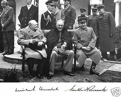 Franklin Roosevelt FDR Autograph Winston Churchill Stalin 8 x 10 Photo Picture